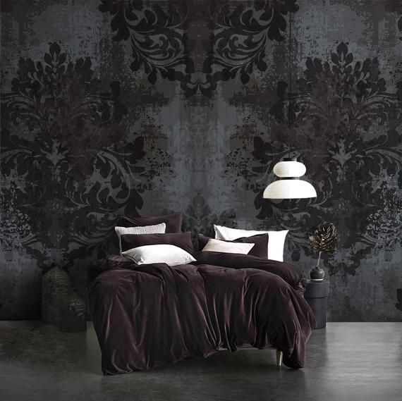 Removable Dark Damask Mural Victorian Wallpaper Self Etsy Victorian Wallpaper Red Decor Damask Removable Wallpaper