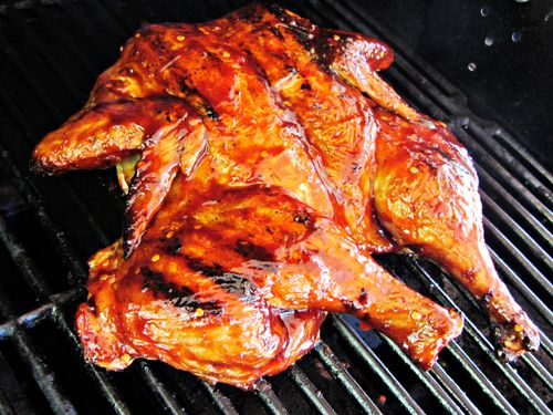 Grilled Butterflied Whole Chicken With Barbecue Sauce Recipe Stuffed Whole Chicken Bbq