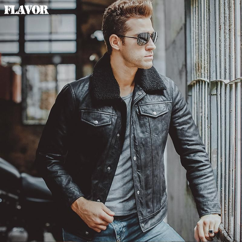 Men's pigskin fur collar real leather jacket Genuine