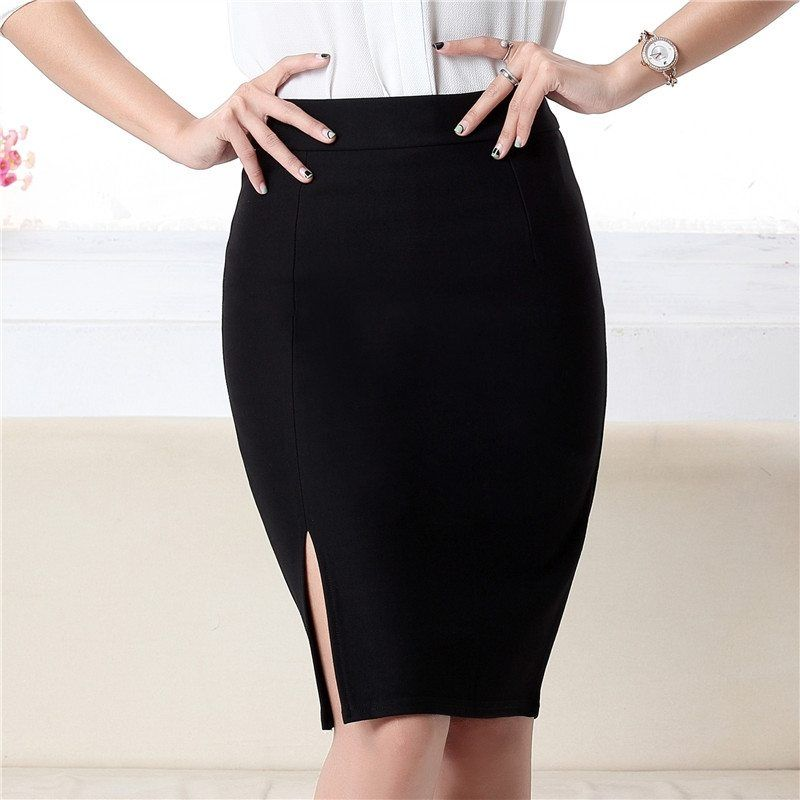 Office Formal Women s Midi Pencil Skirt with Front Side Slit. Black Pencil  Skirt Office Look 06056d811793