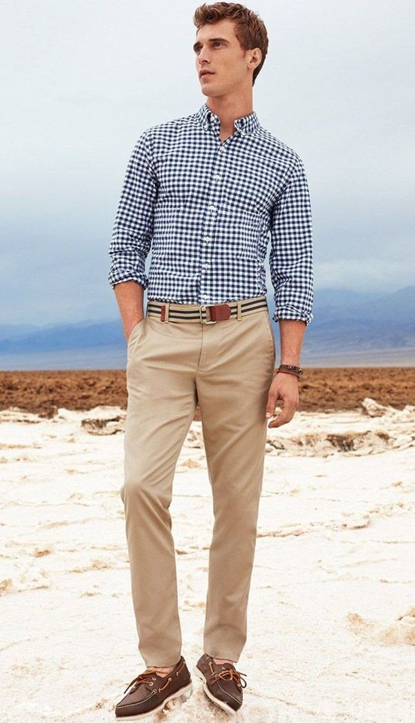 Pair Black And White Checked Shirt With Khaki Pant To Get Casual Look Khakhi