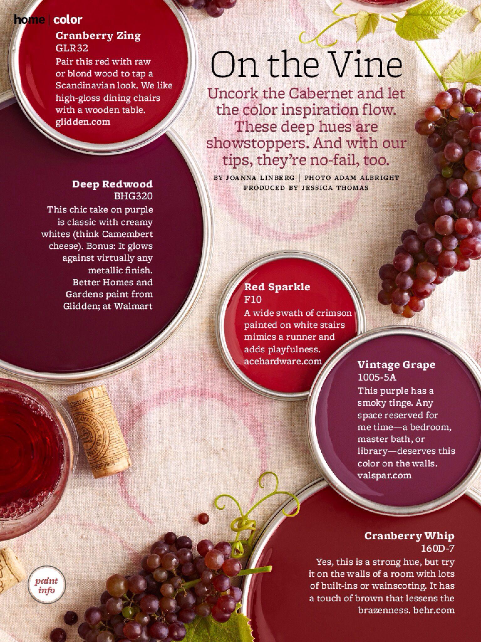 Wine Colors Red Paint Colors Paint Color Palettes Natural Home Decor