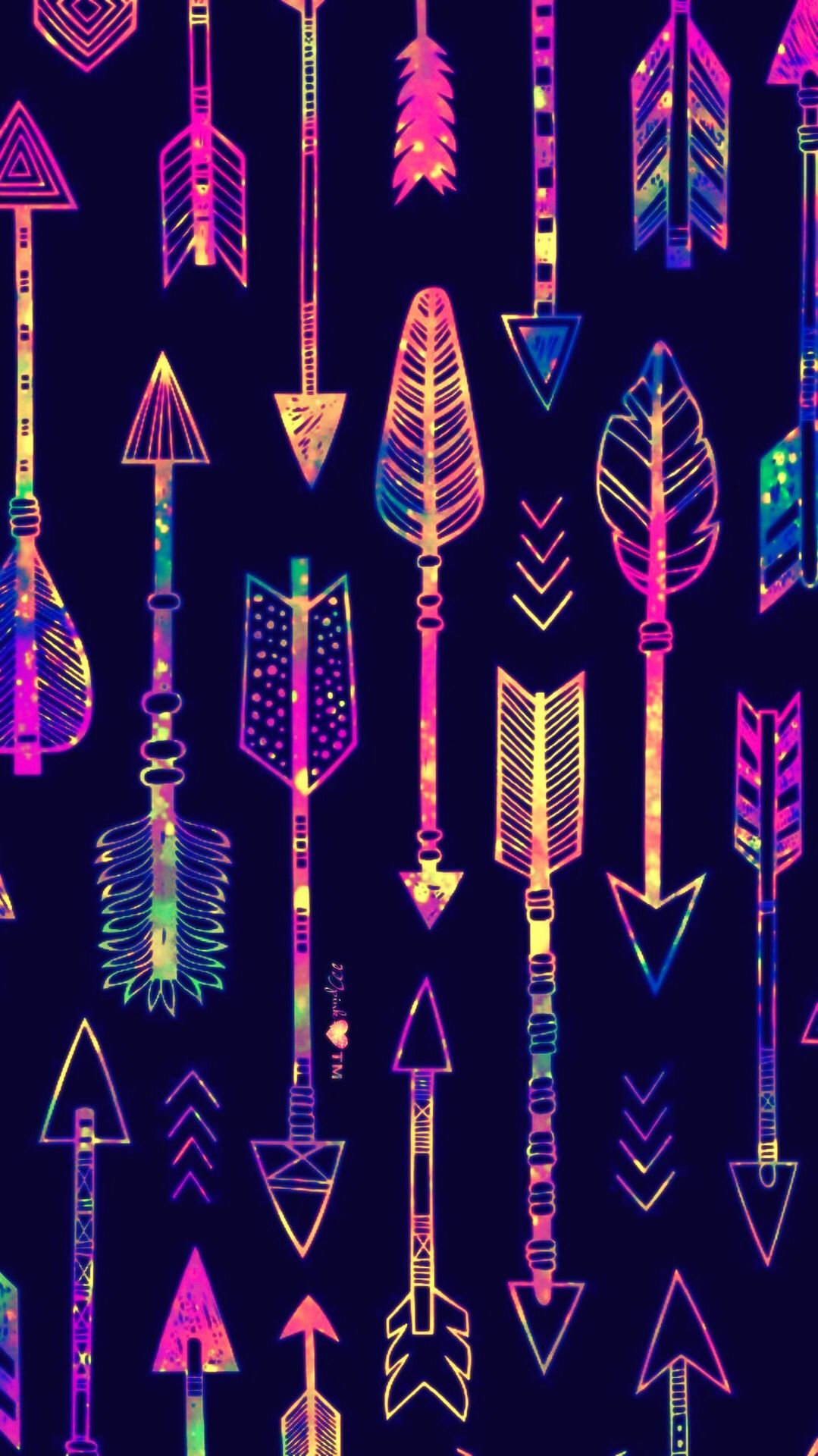 Neon Arrows Galaxy Wallpaper Androidwallpaper Girly Pattern