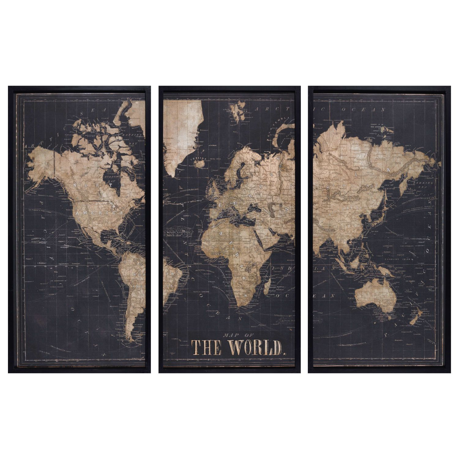 Cadre Triptyque Carte Du Monde Noir 180x120 Maisons Du Monde Framed World Map World Map Map
