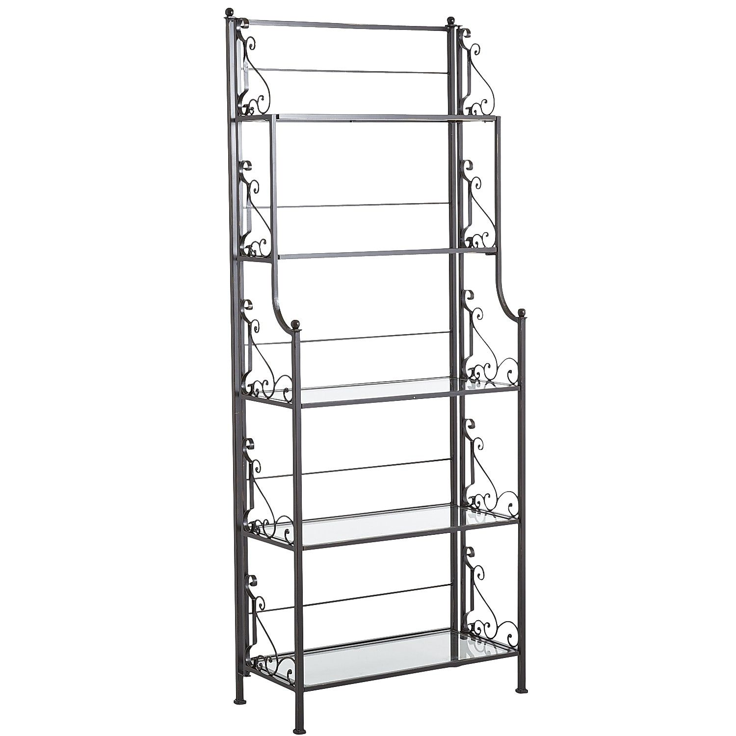 Pier One Bakers Rack: Wrought Iron Scroll Bakers Rack - Burnt Umber