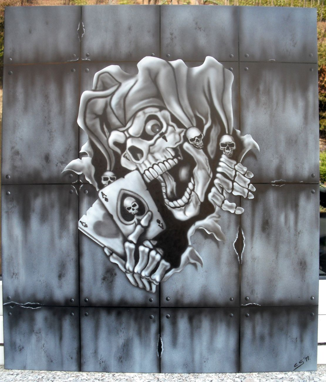 Jester skull mural airbrushing pinterest jester for Airbrush mural painting