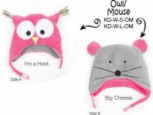 This reversible Owl-Mouse Winter Hat is fun and functional for Fall and Winter. Gorgeous, soft, high quality fleece with ear flaps and chin straps to keep them nice and warm on those chilly days. Each hat has a clever embroidered saying on the back. Side Front Back A Pink Owl Im a Hoot B Gray Mouse Big Cheese Ships from Canada & USA