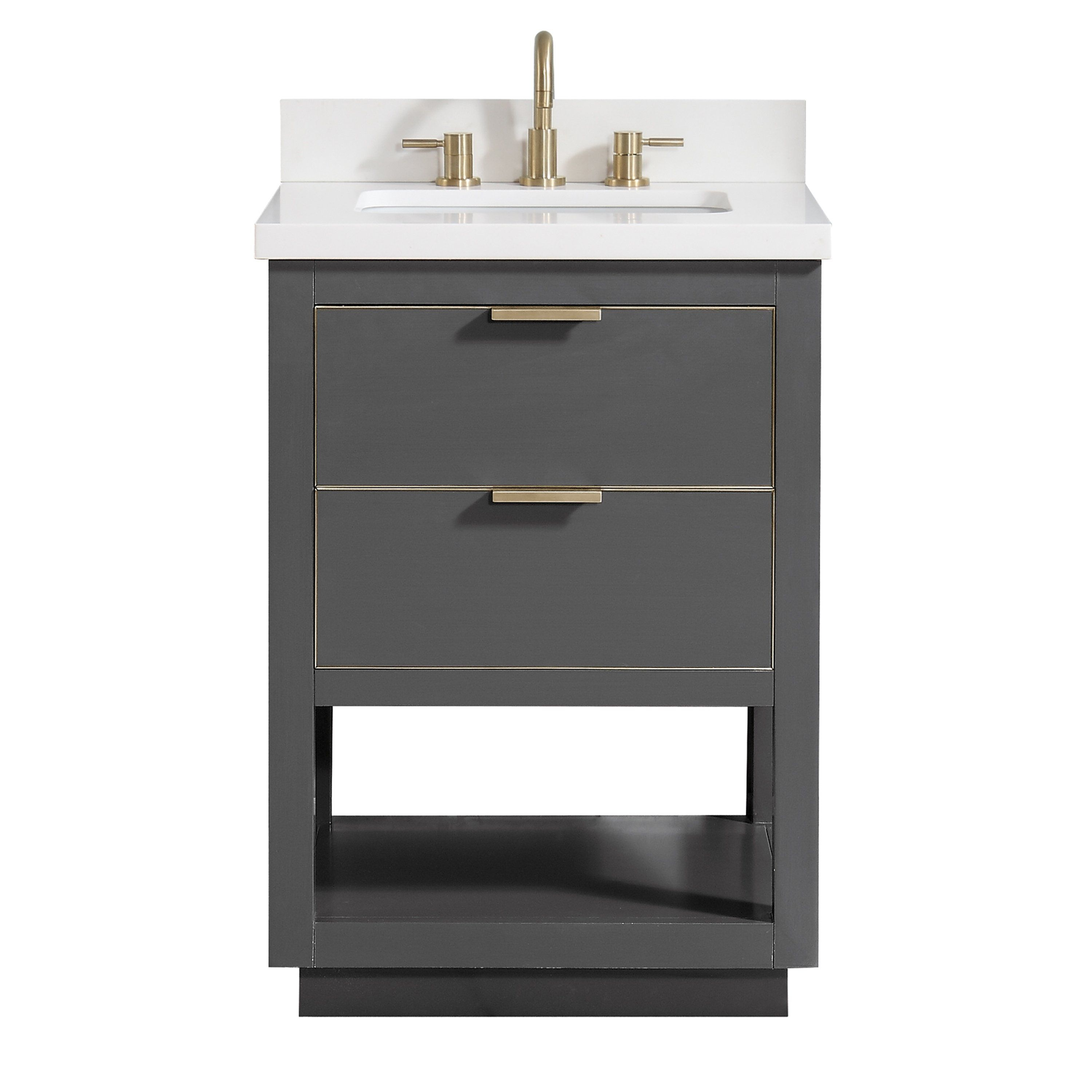Avanity Allie 25 In Vanity Combo In Twilight Gray With Gold Trim