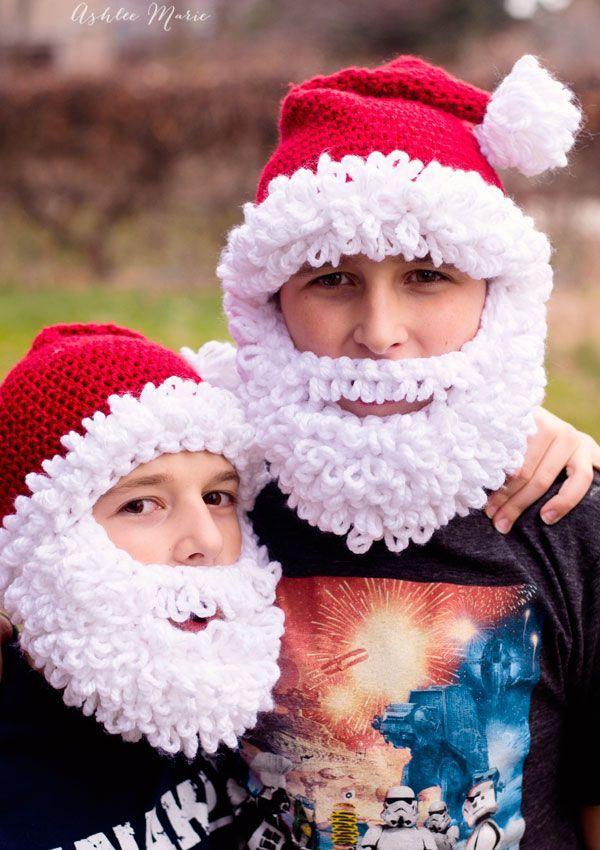 Free Crochet Pattern Double Loop Bearded Santa Hat In All Sizes