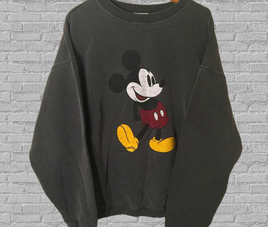 Rare And Vintage Crew Neck Pullover Sweatshirt Walt Disney Cartoon MICKEY MOUSE CALIFORNIA Printed Big Logo Vintage Mickey Clothing Medium 7kTvBkGLW