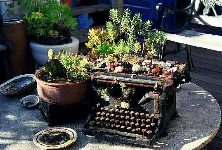 Green typewriter garden containers unique planter