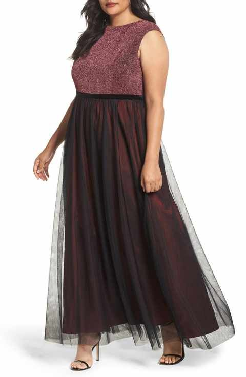 Sangria Metallic Knit & Tulle A Line Gown Plus Size