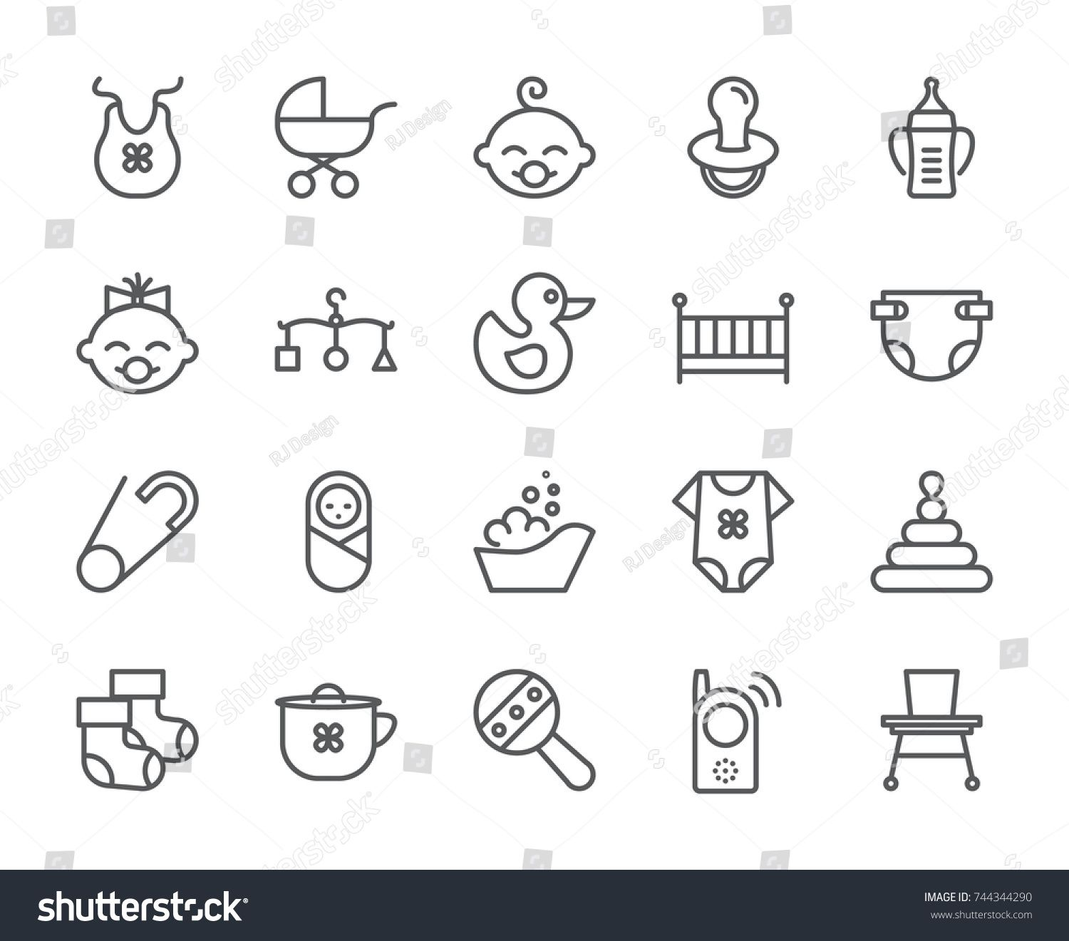 Baby Theme Pixel Perfect 48x48 Icons. Pictograms Of