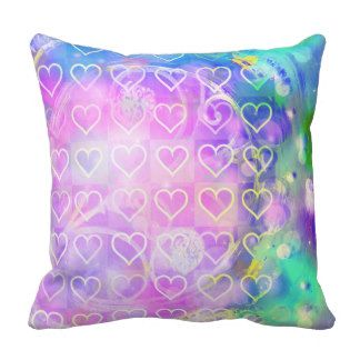 Pink hearts, abstract pattern throw pillow