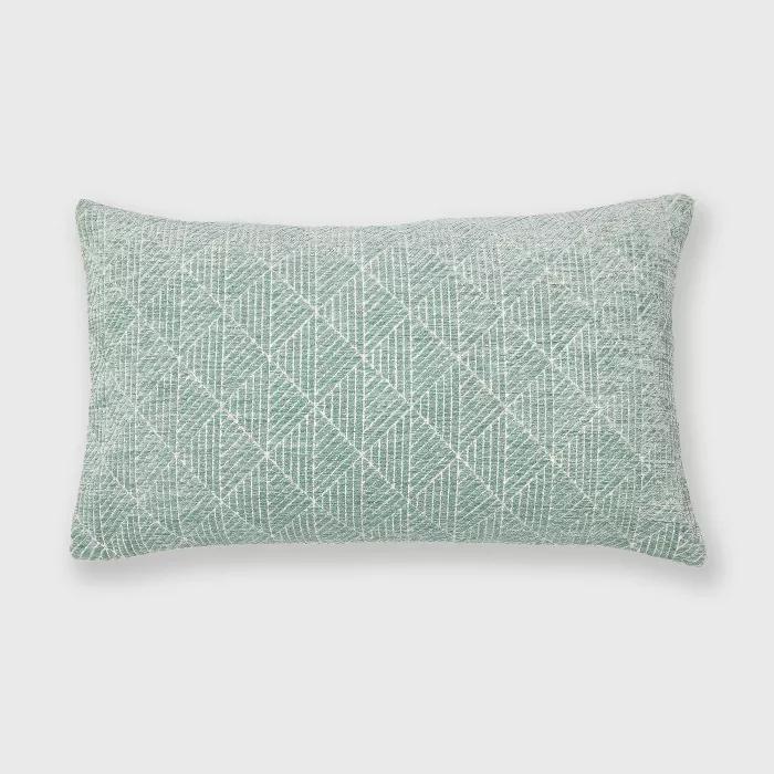 "14""x24"" Geometric Chenille Woven Jacquard Reversible Throw Pillow Surf Blue - freshmint"
