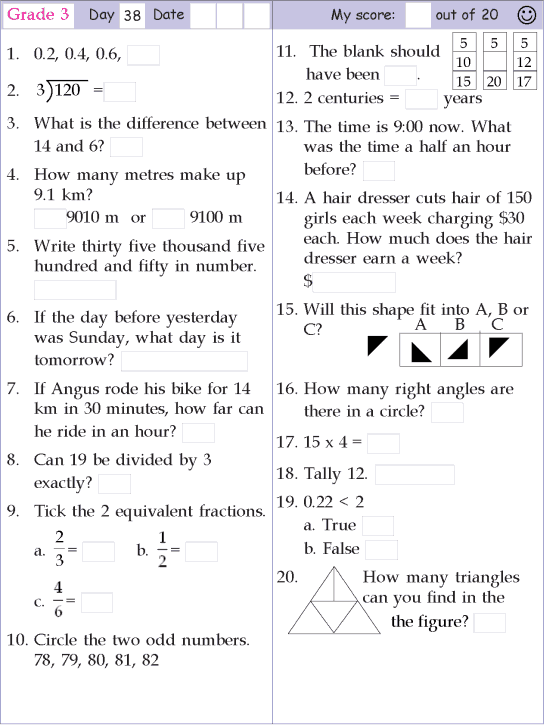 Mental Math Grade 3 Day 38 Mental Math Math Pages 2nd Grade Math Worksheets