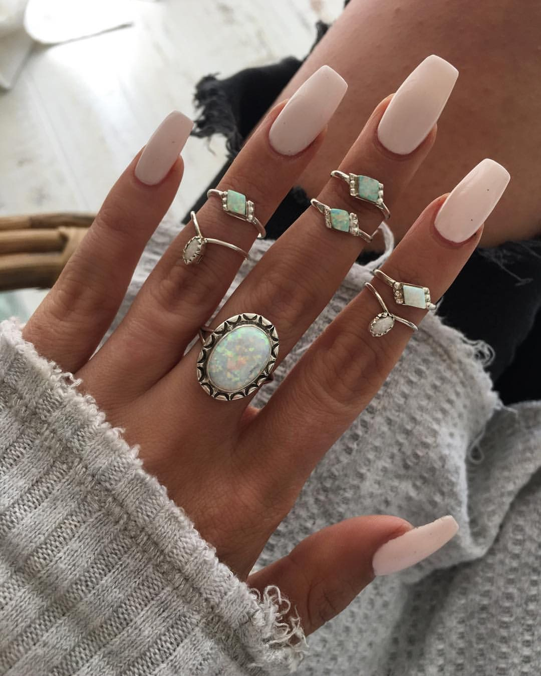 Midnight Opal Ring Nails Nude Nails Pretty Nails