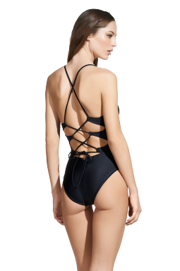 Black Twisted One Piece