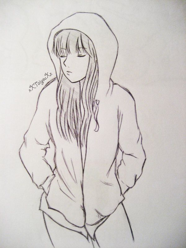 Hoodie Girl By Xxtaiyouxx On Deviantart Girl Drawing Girl Drawing Easy Girl Drawing Sketches