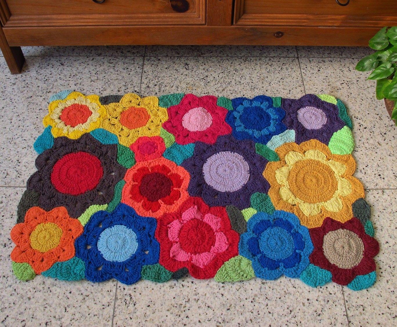 Tapete de croche barbante floral colorido x for Tapetes de crochet