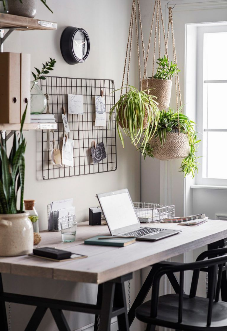 While social distancing continues, it's important to have a different sort of life around the home. Many greenhouses are offering delivery and curbside pickup, which means it's simple enough to incorporate some greenery into your office. I particularly like the idea of hanging some plants above the desk area. | Wonder Forest | Home Decor | Cute Home Office Ideas | Home Office Inspiration