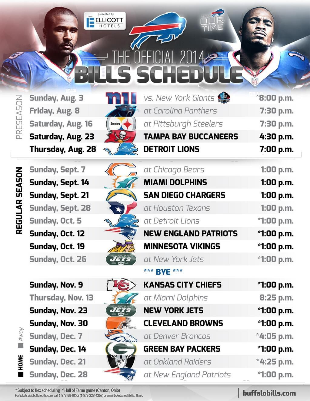 This is an image of Sizzling Buffalo Bills Printable Schedule