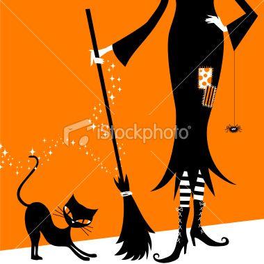 Halloween witch and black cat retro vintage illustration vector minimil Royalty Free Stock Vector Art Illustration