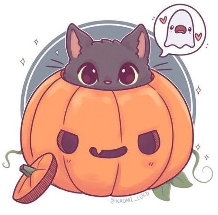 Halloween Cat Cute Drawings Funny Art Cute Animal Drawings