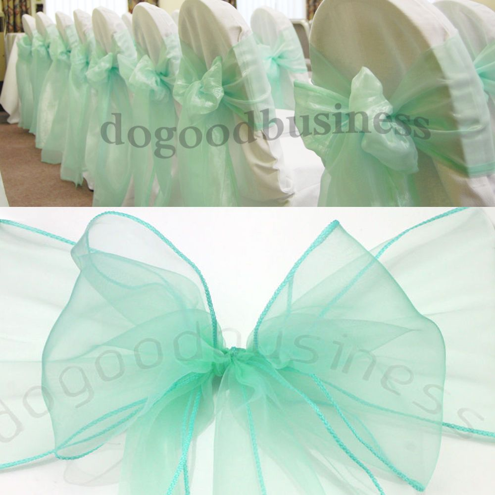 7x108 Mint Green Organza Chair Sashes Bow Wedding Party Favors