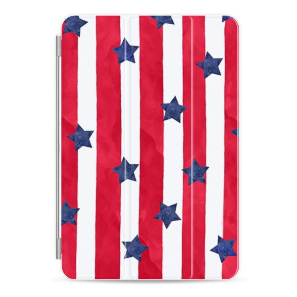 Modern red watercolor stipes blue stars 4th of july by GirlyTrend -... ($40) ❤ liked on Polyvore featuring accessories, tech accessories, ipad cover / case, ipad sleeve case, ipad cases, red ipad case, apple ipad cover case and apple ipad case