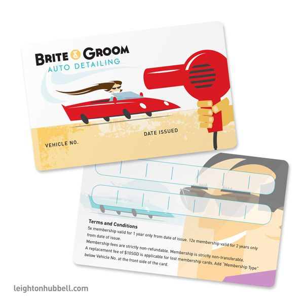 Brite \ Groom Auto Detailing membership cards on Behance - membership cards design