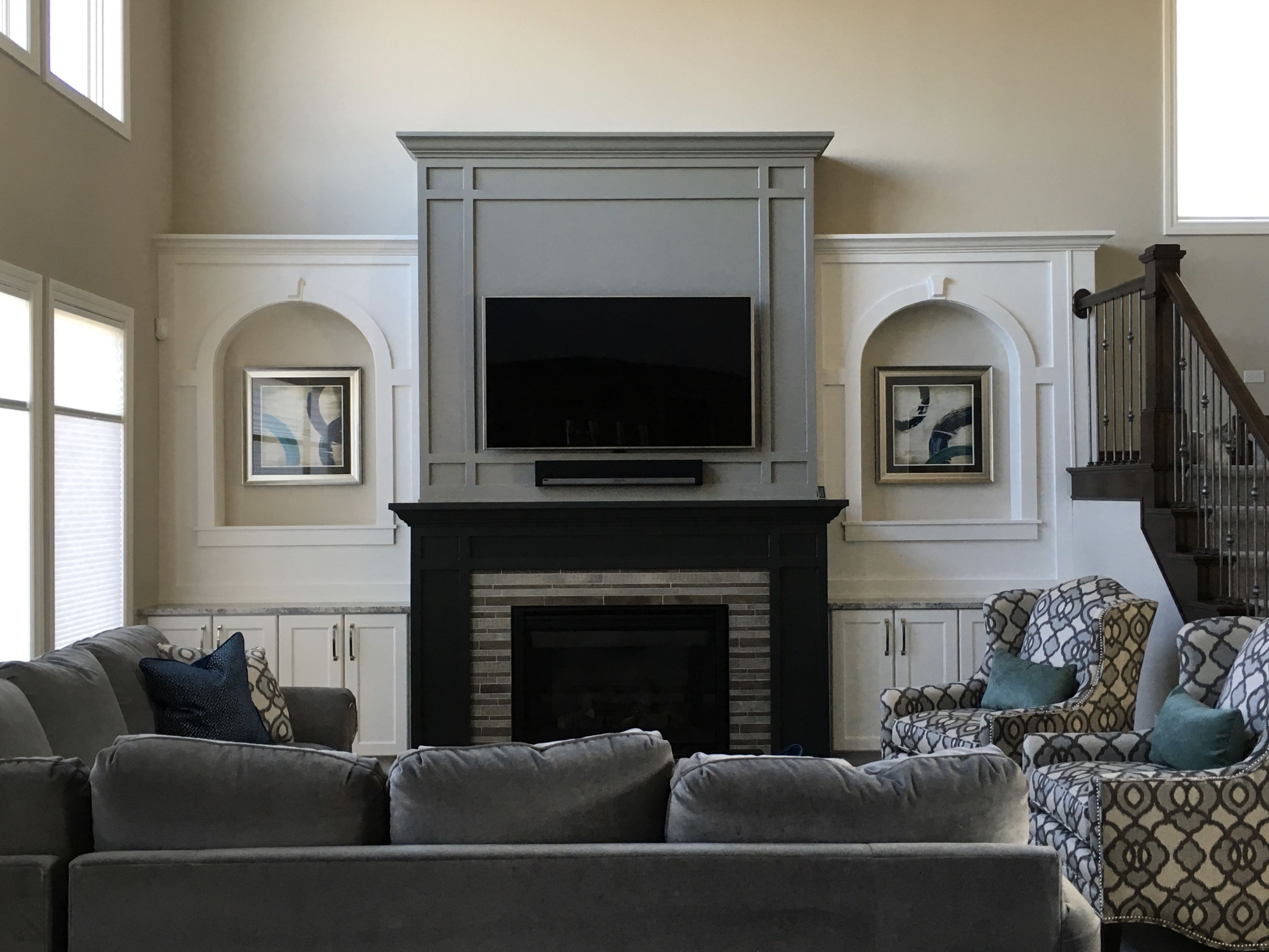 Gray Great Room / fireplace wall paint colors: Sherwin