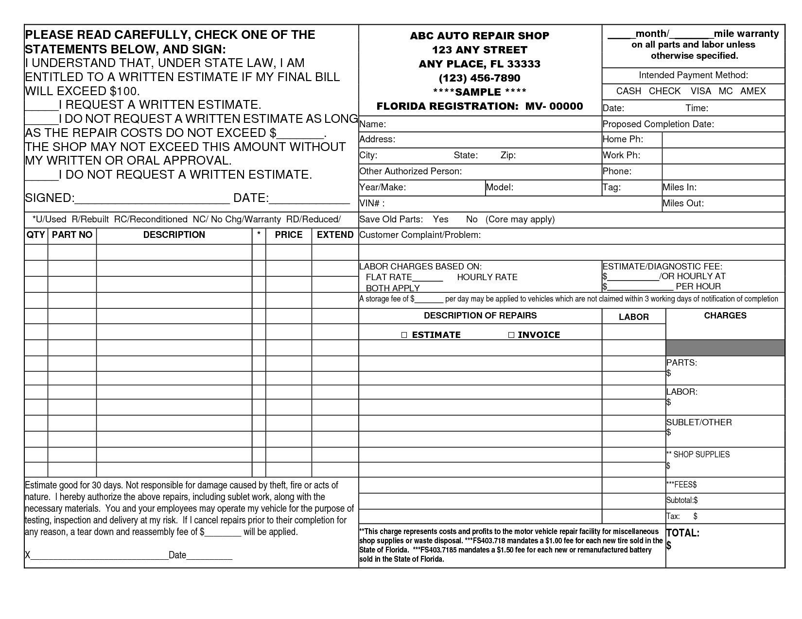 14 best photos of auto repair invoice template printable for Florida auto repair invoice
