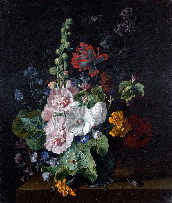 Ян ван Хейсум - Штокрозы с другими цветами в вазе. Часть 4 Национальная галерея