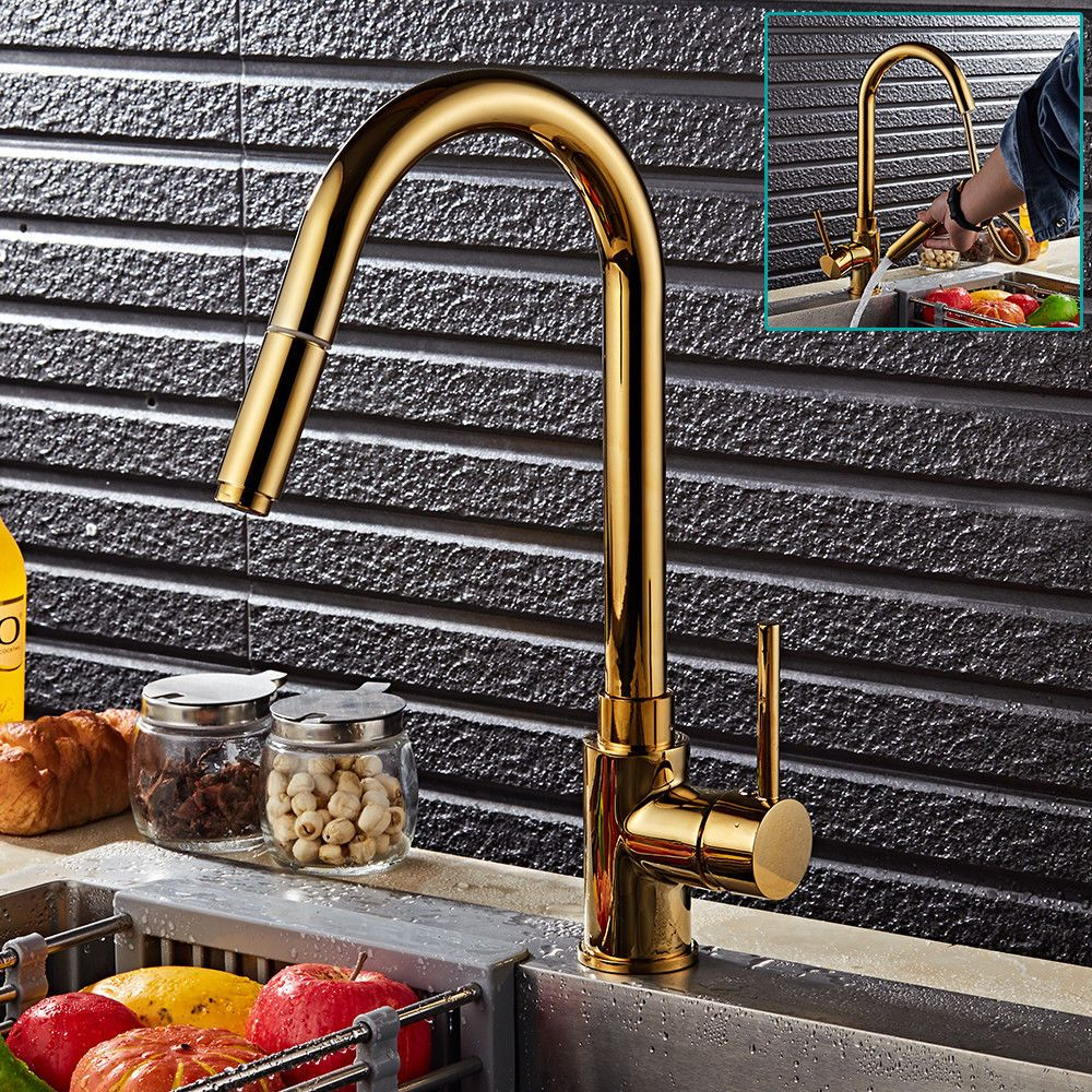 Pull Out Sprayer Kitchen Sink Taps Swivel Spout Basin Mixer Tap Gold ...