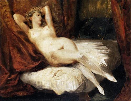 Female Nude Reclining on a Divan - Eugene Delacroix