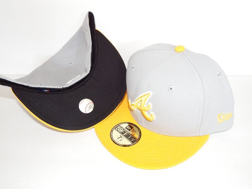 NEW ERA HAT CAP FITTED MLB ATLANTA BRAVES SIZE 7 3 8 GREY YELLOW