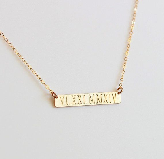 Personalized Roman Numeral bar necklace Gold Wedding date Bar