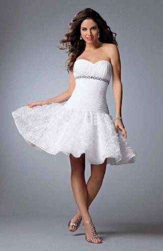 A-line Sweetheart Knee-length Sleeveless Wedding Gowns