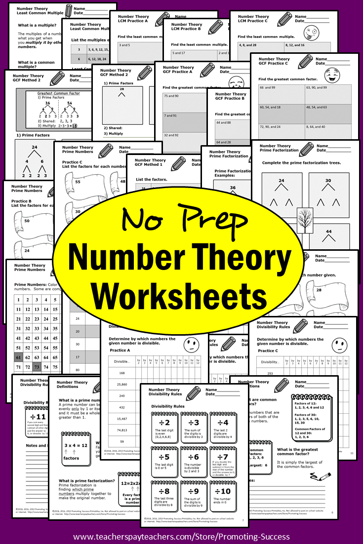 Number Theory GCF LCM Divisibility Rules Worksheets Digital Activities  Printable   Number theory [ 1102 x 735 Pixel ]