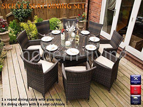Sicily Garden Furniture Sicily round 8 seat rattan garden furniture dining set round sicily round 8 seat rattan garden furniture dining set workwithnaturefo