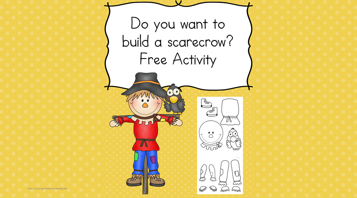 Do you want to build a scarecrow? Do you want to make a scarecrow?  This is a fun craft for kids -preschool, kindergarten and beyond!  It will challenge fine motor and cutting skills...and it is a fun fall project.  Enjoy!
