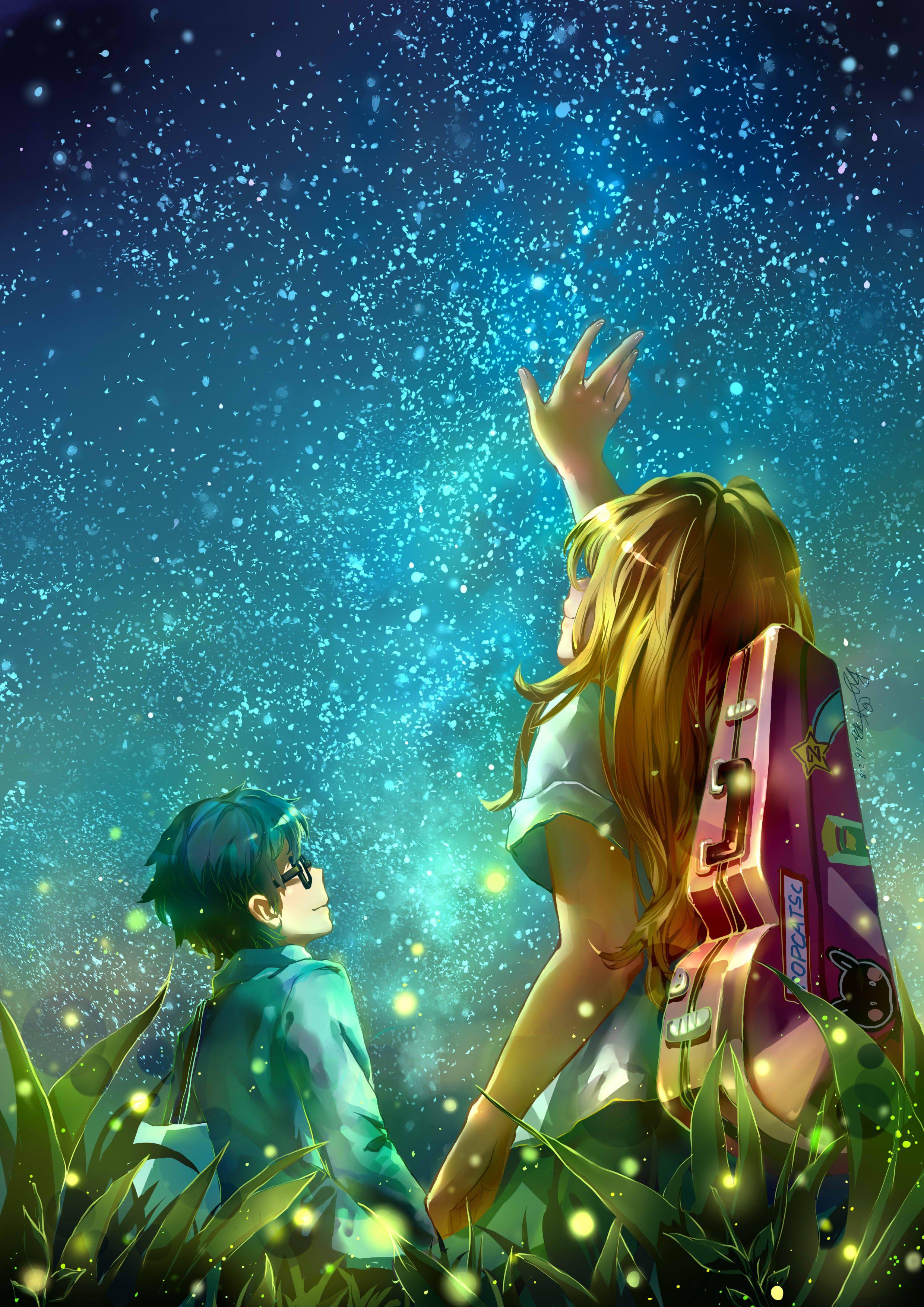 Shigatsu wa kimi no uso Kousei and Kaori Anime, Anime
