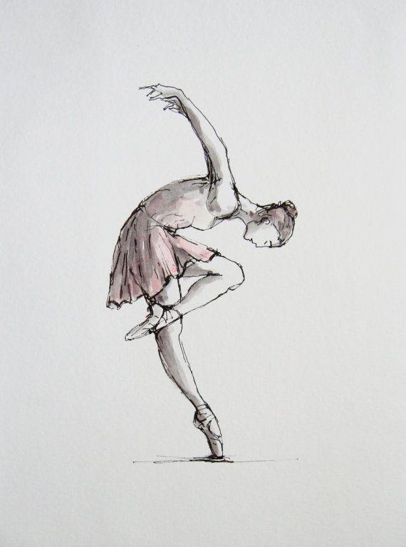 Original A L Encre Et Aquarelle Danseuse Art Mural Danseuse De