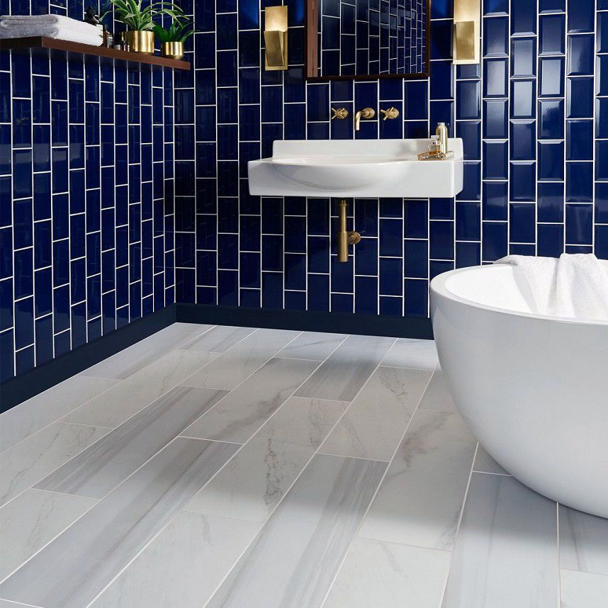 15 Bathrooms With Amazing Tile Flooring Blue Bathroom Tile Marble Tile Bathroom Bathroom Floor Tiles