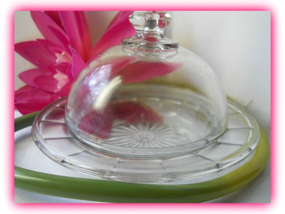 Pretty Domed Butter Dish Cloche Top Anchor Hocking by justjunkin2, $19.99