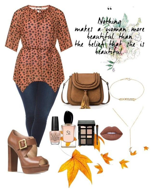 """""""Untitled #87"""" by breonaj on Polyvore featuring Jennifer Meyer Jewelry, Slink Jeans, Manon Baptiste, Michael Kors, Lime Crime, OPI, Armani Beauty, Bobbi Brown Cosmetics and plus size clothing"""