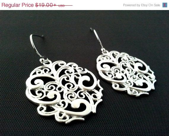 Black Friday SALE Oriental Drop Silver Earrings, Dangle, Earrings,bridesmaid Bridal Wedding jewelry,christmasGIFT, cocktail jewelry
