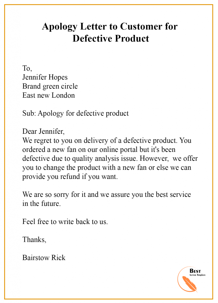 Apology Letter Template To Customer Format Sample Example Best Letter Template Lettering Formal Letter Writing Letter Format Sample