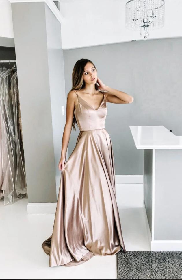champagne prom dress